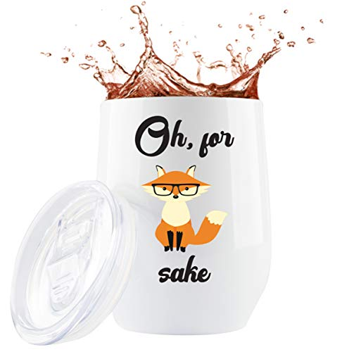 Fox Gifts Mug - 12 Ounce Travel Tumbler/Mug/Glass with Lid and Straw for Coffee Cup or Wine | Fox Mug | Unique Cute Fox Mugs Gifts Funny Animal Themed Stuff | by Globodyne Tumblers (12 Ounce)