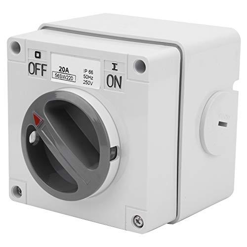 Interruptor a Prueba de Agua IP66 250V 2 Posiciones Interruptor Selector Giratorio Enchufe de Interruptor de Encendido y Apagado a Prueba de Polvo para Uso en Exteriores(2P20A)