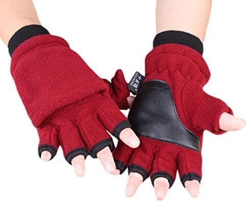 Women Men Winter Polar Fleece Half Finger Flip Gloves Double Layer Thicken Touch Screen Fingerless Mittens Wrist Warmer Wrap - (Color: NO.G)