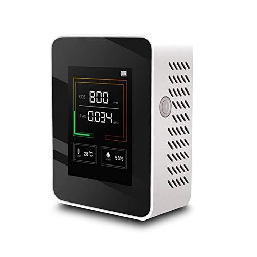 metagio K03 Luftdetektor, Luftqualitätsmonitor, CO2-Detektor, Luftfeuchte und Temperatur, CO2-3-in-1-Detektor, USB-Lade-LCD-Display mit Hintergrundbeleuchtung (weiß)