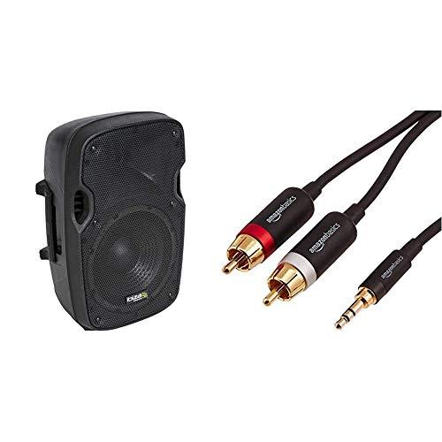 "IbizaXTK8ABafles de Sonido con ABS Activo, 8"" / 200 W, Color Negro + AmazonBasicsCable Adaptador (3,5 mm a 2 machos RCA, 2,44 m)"