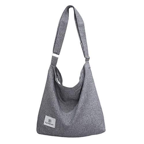 Bolsos Mujer, Bolsos Bandolera de mujer retro de Lona Bag Bolsos de Crossbody Bolsas de Hombro para Multifuncional (Gris)