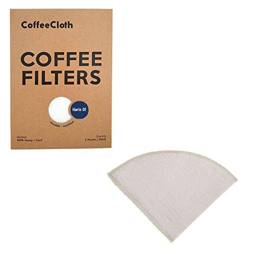Earthtopia 3 Pack de Filtros De Café Reutilizables De Tela  100% Cáñamo   Bolsas De Filtro de Café Y Eco-Amigables   Filtros Permanentes (adecuado para Hario V60 01)
