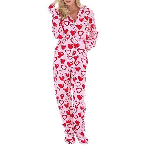 Ketamyy Mujer Pijama Mono Entero con Capucha Pies Casual Cremallera Polar Jumpsuit Adulto Una Pieza Primavera Invierno Otoño Cómodo Termica Loungewear Calcetines Desmontables Rosa/Corazones M