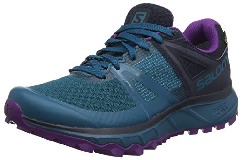 Salomon Trailster GTX W, Scarpe da Corsa Donna, Turchese/Viola (Deep Lagoon/Navy Blazer/Purple Magic), 41 1/3 EU