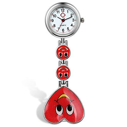 Reloj de Bolsillo para Enfermera, Cara Sonriente, Forma de Corazón, Analógico, de Cuarzo y Portátil, Regalo para Doctor Mujer Niña, Regalos Navidad,5 Colores
