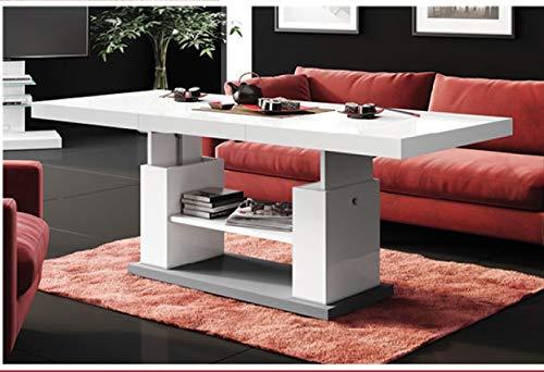 Design Couchtisch HN-777 Weiß - Grau Hochglanz höhenverstellbar ausziehbar Tisch Esstisch