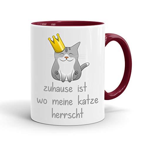 True Statements Lustige Tasse zuhause ist wo meine Katze herrscht - Kaffee-Tasse mit Spruch - Geschenk für Mitarbeiter - Chef - Büro - Arbeit, inner bordeaux
