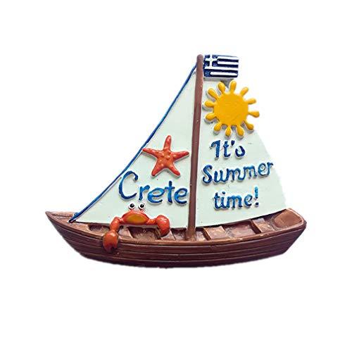 Bella 3D Magneti per FrigoriferoCalamite da Frigo in Resina Viaggio Souvenir del Modo Europa Grecia Crete Barca a Vela Fridge Magnet Sticker