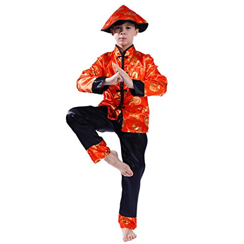 PGOND Boys Red Traditional Chinese Dragon Kung Fu Costume with Hat (S)