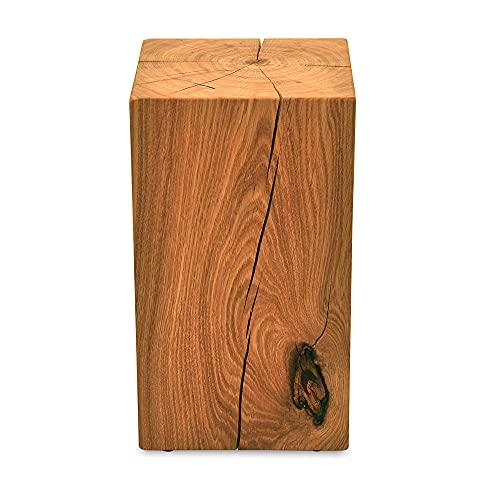 MS FACTORY Bloc de Chêne Massif - Cube en Bois - Rondin de Bois - Bout de Canapé, Colonne de Decoration, Support en Bois, Table Basse Bois, Piédestal pour Fleurs, Table de Chevet - 20 x 20 x 40 cm