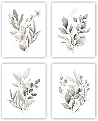 Unframed 8X10 Set of 4 Botanical Plant Flower Blossom Leaves Minimalist Wall Art Watercolor product image
