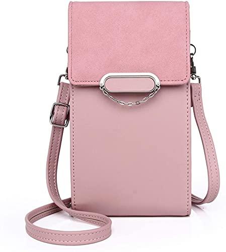 GOODFORALL Bolso de hombro para mujer de piel sintética, tamaño pequeño, con tarjetero, ajustable, desmontable, para teléfono móvil de menos de 7 pulgadas