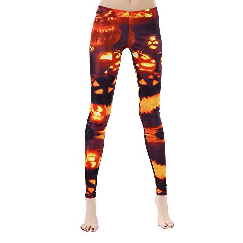 Rongjuyi Frauen Design Leggings 3D gedruckt Halloween Kürbis Laterne Ack-O'Lantern Feuer Leggins Yoga Hose Strumpfhosen Legging für Frau...