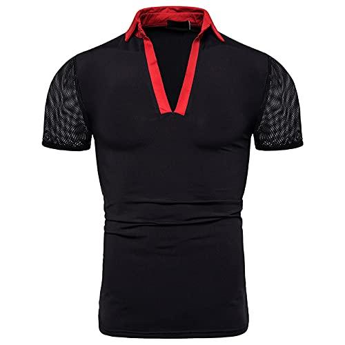 SSBZYES Camiseta con Cuello En V para Hombre Camiseta De Manga Corta para Hombre Camiseta De Verano para Hombre Manga Corta Casual Moda Solapa Diseño Abierto Combinación De Colores
