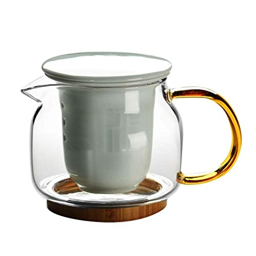 GONGFF Tetera Tetera de Vidrio Tetera Filtro de cerámica Grueso Resistente a Altas temperaturas Tetera Mini portátil portátil HUXIUPING (Tamaño: 376 ml)
