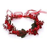 Unicra - Diadema de corona de Navidad, guirnalda de flores, guirnalda de pelo rojo, guirnalda de pelo con cinta para el pelo, regalo para mujeres y niñas