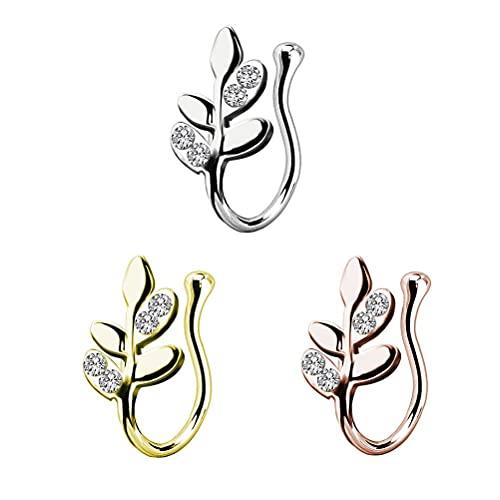 CeFoney Lot de 3 faux anneaux de nez en acier inoxydable - Non percés - Pour le septum - Non percés