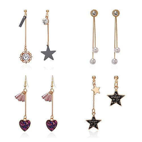 Pendientes de oro para mujer, juego de pendientes con estrella de aguja de plata 925 y pendientes de reloj con perlas y diamantes de imitación, regalo para mamá y amigos, 4 pares