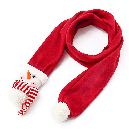 Zaptex Christmas Scarf Winter Warm Plush Scarf Girls Women Holiday Decorations (Snowman)