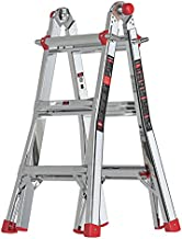STEALTH Folding Ladder, 13 ft Aluminum Extension Ladder, 300 lbs Load Capacity, Portable Telescoping Ladder with Non-Slip Rubber, Multi-Position Step Ladders, Smart Utility for Working Indoor/Outdoor