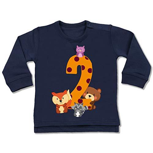 Shirtracer Geburtstag Baby - 2. Geburtstag Waldtiere - 18/24 Monate - Navy Blau - 2.Geburtstag Junge - BZ31 - Baby Pullover