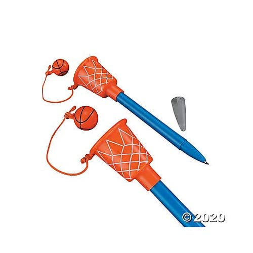 """Basketball Hoop Pens (1 Dozen) Sport Themed Birthday Party Supplies, Party Favors, Giveaways, Novelty Pen, 5 1/2"""""""