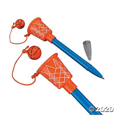 Basketball Hoop Pens (1 Dozen) Sport Themed Birthday Party Supplies, Party Favors, Giveaways, Novelty Pen, 5 1/2'