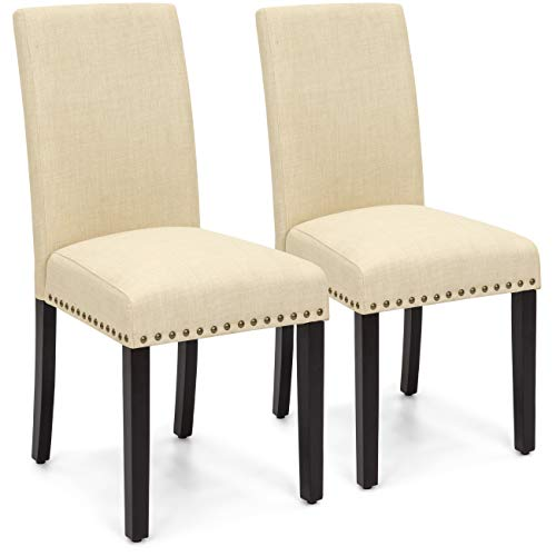 Best Choice Products Set of 2 Upholstered Fabric High Back Parsons Accent Dining Chairs for Dining Room, Kitchen w/Wood Legs, High Density Foam Padding, Nail Head Stud Trim - Ivory