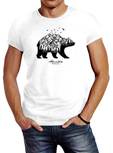 Neverless Herren T-Shirt Bär Abenteuer Berge Wald Bear Mountains Adventure Slim Fit weiß XL