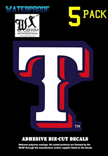 5 Pack Texas Rangers Vinyl Decal Sticker Set, 3 H x 2.5 W inch, Logo in Ranger Team Colors. Major League Baseball Emblem.