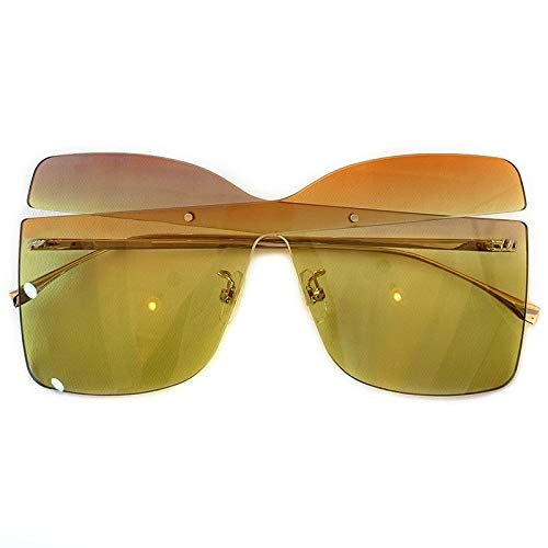 YJDZHSQ Oversized Shades Vrouwen Rimless Zonnebril Mode Vierkante Bril Vintage Retro Unisex Big Frame Zonnebril