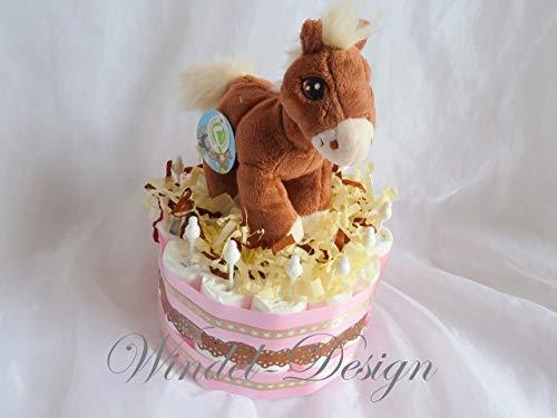 Windeltorte Pferd PferdchenMädchen, Geschenk, Babyparty, Geburt oder Taufe, auf Wunsch mit Grußkärtchen