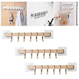6 Even Row of Hook Nail-Free Adhesive Rack Wall Hanger,3 Pack 18 Satin Nickel Hooks,Wall Mount Coat Hook,Strong Adhesive Stick up Row of Coat Hooks,Self Adhesive Hooks for Hanging (Apricot)