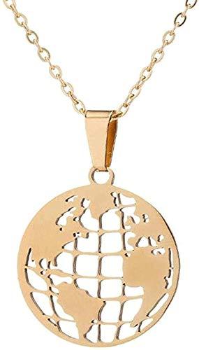 BEISUOSIBYW Co.,Ltd Collar Regalos Moda Origami Collar Redondo Mapa del Mundo Gargantillas Mujeres Collares y Colgantes de Acero Inoxidable Joyería geométrica del círculo