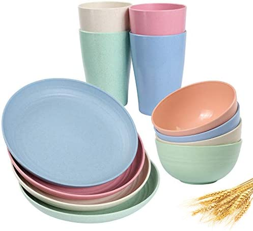 Wheat Straw Dinnerware Sets 12pcs Multi Color Unbreakable Microwave Safe Lightweight Bowls Cups product image
