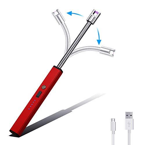 Aolfay Mechero Arco Electrico, Encendedor USB Recargable con Pantalla LED de Batería, sin Llama, a Prueba de Viento, Cuello Largo 360º Flexible para Cocina,Velas, Barbacoa, Papel, Estufa(Rojo)