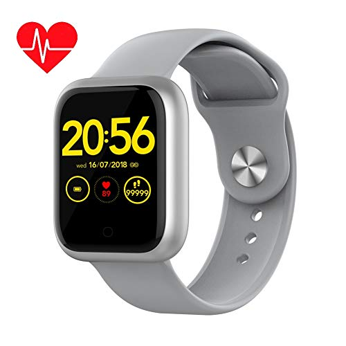 GT1 Waterproof Fitness Activity Tracker Smart Watch with 24/7 Heart Rate Blood Pressure Sleep Monitor Sports Smartwatch 15 Days Battery Life Bluetooth 5.0 Compatible for Android & iOS (Grey)