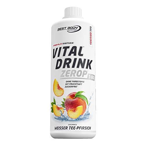 Best Body Nutrition Vital Drink ZEROP - Weißer Tee-Pfirsich, zuckerfreies Getränkekonzentrat, 1:80 ergibt 80 Liter Fertiggetränk, 1000 ml