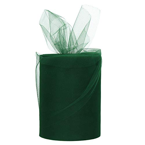 Dark Green Tulle Roll Spool 6 Inch x 100 Yards for Tulle Decoration