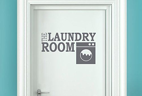 the laundry room Vinilo Decorativo Puerta Pegatinas - Gris (Alto 23cm x Ancho 40cm)