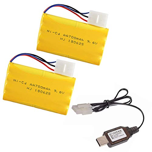 2 Pcs 9.6V 700mAh Rechargeable KET-3P Plug Ni-Cd Battery with Charging USB Cable for RC Toy Like Robot car Remote Control Boat 9.6 Volt ket3p