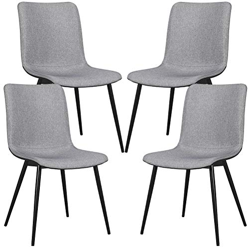 Yaheetech 4pcs Fabric Dining Chairs Upholstered Lounge Cushion Side Chairs w/Sturdy Black Metal Legs Soft Padded Seat Kitchen/Cafe Gray