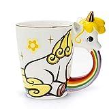 el & groove Taza Unicornio Grande Colorida en 3D | Taza de café 350ml (400ml Llena hasta el Borde) | Taza de té Porcelana Unicornio en Blanco y Dorado | Comic | Estrellas | Idea para Regalo