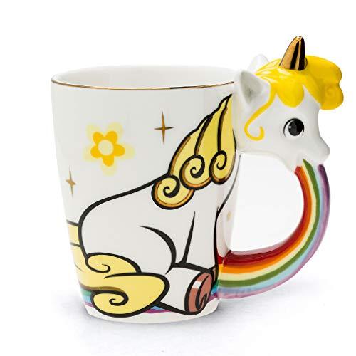 el & groove Einhorn-Tasse groß bunt in 3D, Kaffee-Tasse 350ml (400ml randvoll), Tee-Tasse Einhorn aus Porzellan in weiß Gold, Unicorn Becher, Geschenkidee, Geschenk für Frauen, Geschenk Weihnacht