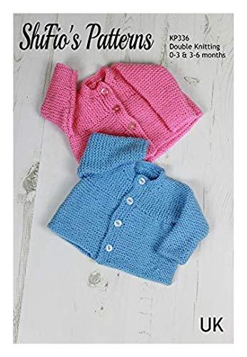Breipatroon voor Baby Cardigan, Effen Ronde hals Vest 0 tot 3 Maanden en 3 tot 6 Maanden, Dubbel Breien, KP336