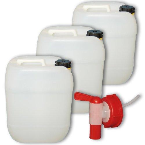 Wilai GmbH Bidons – Lot de 3 Jerricans 20 L, Naturel, avec 1 Robinet DIN 61 (22002x3+22010)