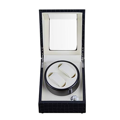 Cajas giratorias Reloj Winder Windering Pantalla Organizador Joyería Caja De Almacenamiento Caja Holder Holder Motor Shaker PU Cuero Mecánico Silencioso