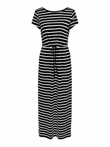 Only ONLMAY Life S/S String Maxi Dress JRS Vestido, Negro/Rayas: Cloud Dancer, L para Mujer