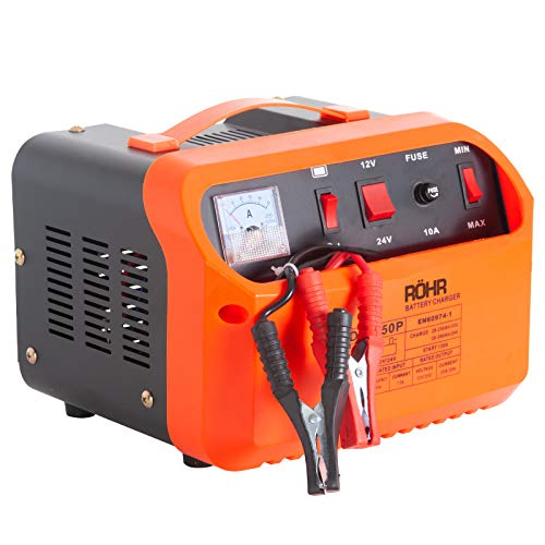 Röhr DFC-50P Autobatterie Ladegeräte 45A 12V/24V Motorrad Booster, Autobatterie-Ladegerät 12 V/24 V AWZ Batterie Ladegerät für Auto und Motorrad, mit Polklemmen, Ladekabel